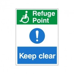Refuge Point Keep Clear Non Slip Floor Sign