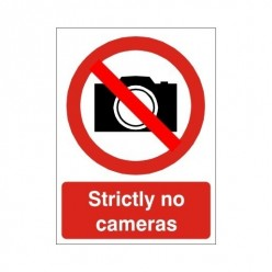 Strictly No Cameras Sign