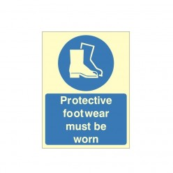 Protective Footwear Must Be Worn Photoluminescent Sign 150 x 200mm