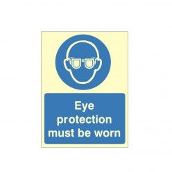 Eye Protection Must Be Worn Photoluminescent Sign 150 x 200mm