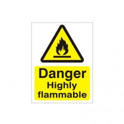 Danger Highly Flammable Sign - 150mm x 200mm
