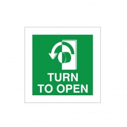 Turn To Open Anti Clockwise Instruction Sign - 100mm x 100mm