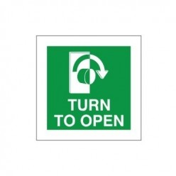 Turn To Open Clockwise Instruction Sign - 100mm x 100mm