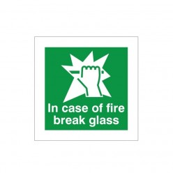 In Case Of Fire Break Glass Instruction Sign - 100mm x 100mm