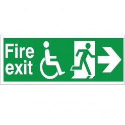 Refuge Fire Exit Right Sign - 400mm x 150mm
