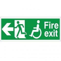 Refuge Fire Exit Left Sign - 400mm x 150mm
