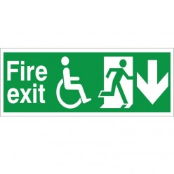 Refuge Fire Exit Down Sign - 400mm x 150mm