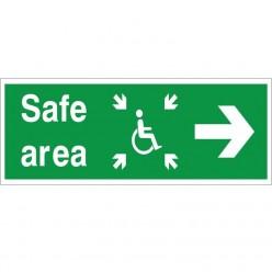 Safe Area Right Refuge Sign - 400mm x 150mm