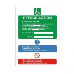 Fire Action Refuge Sign - 150mm x 200mm