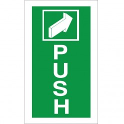 Push Instruction Sign - 100mm x 200mm