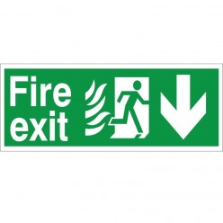 Hospital Compliant Fire Exit Down Sign