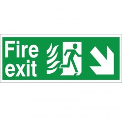 Hospital Compliant Fire Exit Down Right Sign