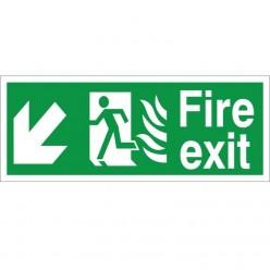 Hospital Compliant Fire Exit Down Left Sign