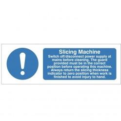 Slicing Machine Hygiene Sign - 300mm x 100mm