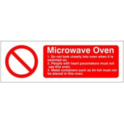 Microwave Oven Hygiene Sign - 300mm x 100mm