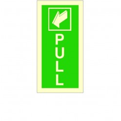 Photoluminescent Pull Arrow Backward Sign