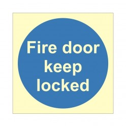 Fire Door Keep Locked Photoluminescent Sign 100 x 100mm