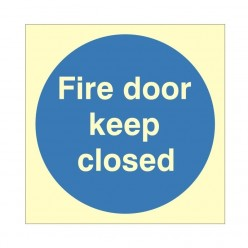 Fire Door Keep Closed Photoluminescent Sign 100 x 100mm