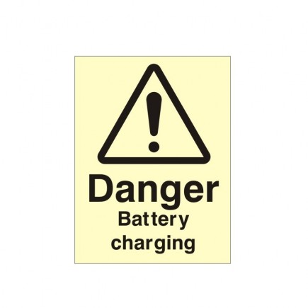 Danger Battery Charging Photoluminescent Sign