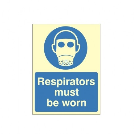 Respirators Must Be Worn Photoluminescent Sign