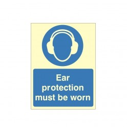 Ear Protection Must Be Worn Photoluminescent Sign