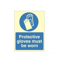 Protective Gloves Must Be Worn Photoluminescent Sign