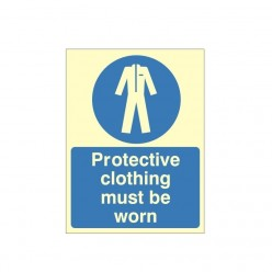 Protective Clothing Must Be Worn Photoluminescent Sign