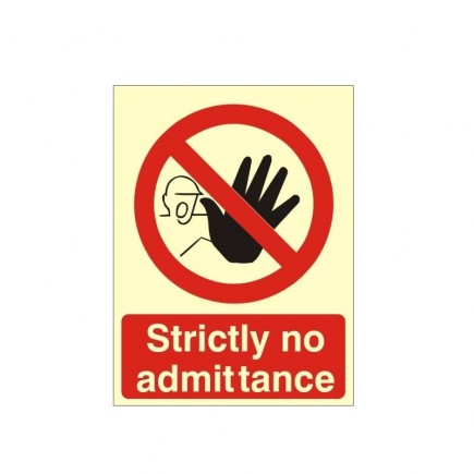 Strictly No Admittance Photoluminescent Sign - 150mm x 200mm
