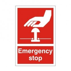 Emergency Stop First Aid Sign - 200mm x 300mm