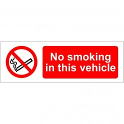 No Smoking In This Vehicle Sign - Self Adhesive