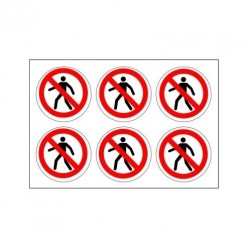 No Pedestrians Labels Pack of 24