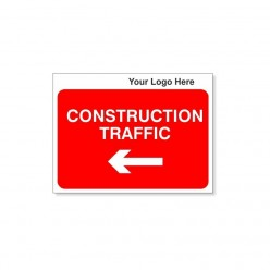 Construction Traffic Left Site Traffic Sign With Your Logo 600X450mm
