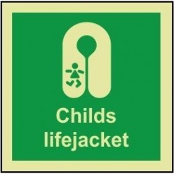 Childs lifejacket sign 100x110mm