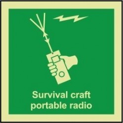 Survival craft portable radio 100x110mm sign