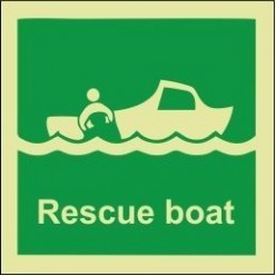 Rescue boat sign 100x110mm