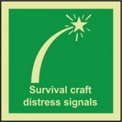 Survival craft distress signals sign 100x110mm