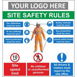 Site safety rules 1000x1000mm sign