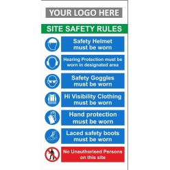 Site safety rules 600x1200mm sign