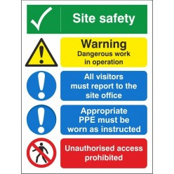Site safety 600x800mm sign