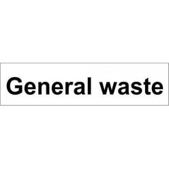 general waste door sign 600x150mm
