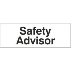 Safety advisor door sign 300x100mm