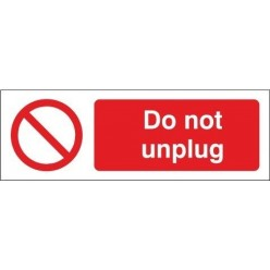 Do Not Unplug Equipment Label - 50mm x 20mm