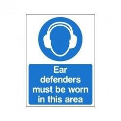 Ear Defenders Must Be Worn In This Area Double Sided Sign