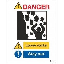 Danger loose rocks stay away sign in a variety of sizes and materials