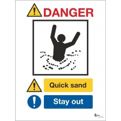 Danger quicksand stay away sign in a variety of sizes and materials