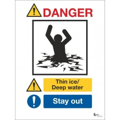 Danger thin ice deep water sign in a variety of sizes and materials