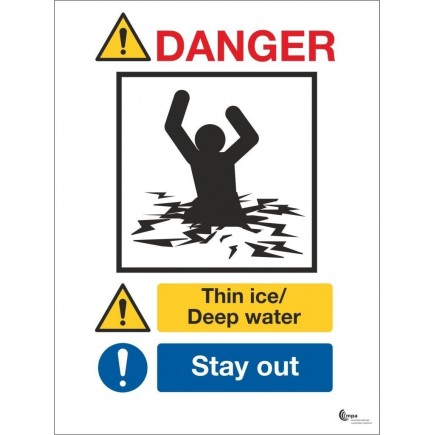 Danger Thin Ice Deep Water Sign