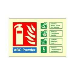 Glow In The Dark Foam Spray Fire Extinguisher Identification Sign 150mm x 100mm