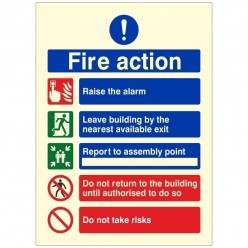 Photoluminescent Fire Action Sign