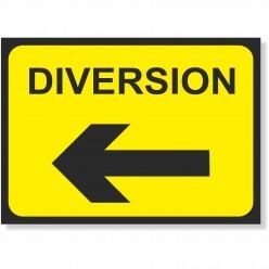 Diversion Left Road Sign -...